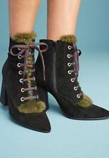 Anthropologie Black Suede Leather Fur Tongue Laceup Heeled Booties Boots 40 New