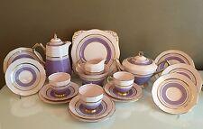 Tuscan Art Deco Purple Gold English Bone China Tea Set Coffee Pot Hot Water Jug