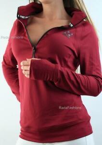Victoria's Secret PINK Ultimate Half Zip Logo Mockneck Sport Pullover Maroon NWT