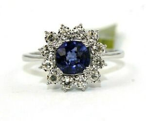 Natural Cushion Blue Sapphire & Diamond Solitaire Ring 14k White Gold 1.40Ct