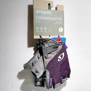 New Women's Giro Stradamassa Supergel Cycling Bike Gloves LARGE Purple / Gray