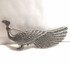 VINTAGE STERLING SILVER RUBY EYED PEACOCK MARCASITE BROOCH PIN