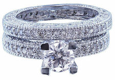 Ring And Band Antique Style 1.70ctw 14k White Gold Round Cut Diamond Engagement