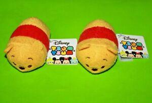 "Tsum Tsum Mini Plush Authentic Disney Winnie the Pooh 3.5"" LOT OF 2 NEW"