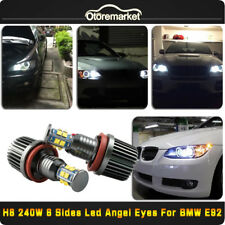 CREE 6 Sides LED Light 240W H8 Xenon 6000k Angel Eyes Halo Ring For BMW E92 E90
