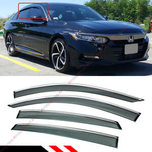 FOR 2018-2021 HONDA ACCORD CLIP-ON CHROME TRIM WINDOW VISOR RAIN GUARD DEFLECTOR