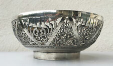 Antique stunning large chinese export silver bowl pierced, sterling asian