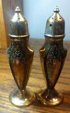 Vintage Quaker Shaker Set (556SP) Salt & Pepper Art Deco Stamped Shakers See PIC