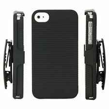 HARD BLACK RIBBED CASE & BELT CLIP HOLSTER KICKSTAND FOR APPLE IPHONE 4G 4S NEW