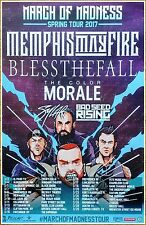MEMPHIS MAY FIRE   BLESSTHEFALL   COLOR MORALE 2017 Tour Ltd Ed RARE New Poster!