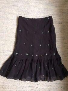 Megan Park Chocolate Brown 100% Silk Hand-Beaded Skirt size 1 (UK 8 - 10)