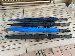 SET: 4 Stück Regenschirm - Schirm mit Holz - jeder 100 cm lang - blau