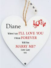Personalised Marriage Proposal Heart Plaque - Will You Marry Me
