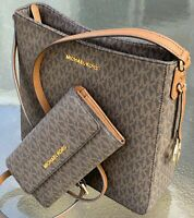 NEW MICHAEL KORS MK LOGO JST MESSENGER BROWN MK SIGNATURE BAG & WALLET SET
