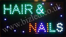 Flashing HAIR & NAILS LED sign board new window Shop signs