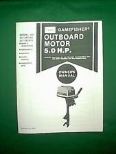 SEARS GAMEFISHER 5 HP OUTBOARD MOTOR 217.585460 217.585470 OWNER / PARTS MANUAL