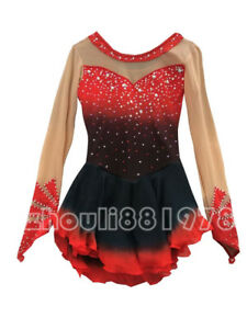 2019 New Ice Figure Skating Dress Figure skaitng Dress For Competition red black