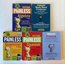 Lot 5 BARRON'S PAINLESS Series_Algebra, Word Problems, Grammar, Spanish, French
