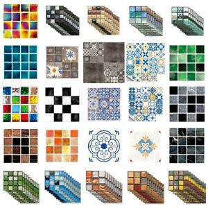 10/20X DIY Mosaic Self Adhesive Wall Tile Sticker Bath Kitchen Home Decor Decals