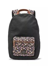 """FOSSIL Phoebe Women's Backpack Black Floral Fabric Laptop 15"""" NWT"""