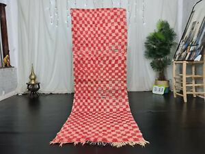 "Moroccann Vintage Handmade Runner Rug 2'9""x8'3"" Checkered Red Pink Wool Carpet"