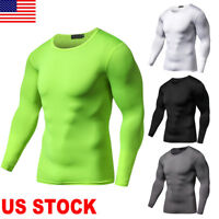 Men Workout Compression Gym Sportwear Long Sleeve T-Shirt Top Cycling Sports Tee