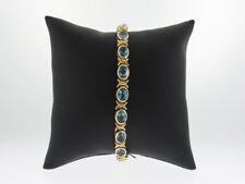 "Natural Blue Topaz Gemstones Solid 14k Yellow Gold Tennis Bracelet 7.5"""