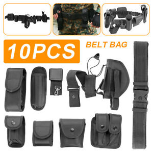 Police Guard Tactical Belt Buckles With 9 Pouches Utility Kit Security System^uk
