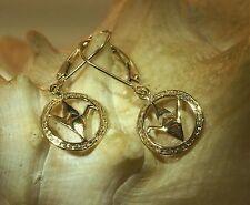Hawaiian 14k Yellow Gold Sadako Peace Crane Wing Down Origami Leverback Earrings