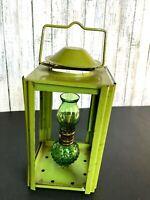 "Vtg Miniature Green Glass Oil Lamp Lantern 4 1/2"" in Glass Box Lantern 7 1/4"""