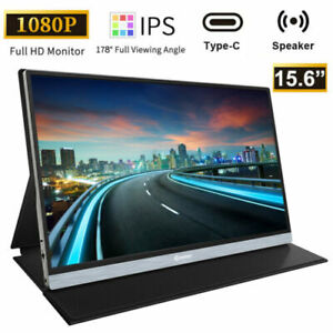 15.6'' IPS Portable Monitor 1080P FHD Dual Type-C USB HDMI Screen Speakers Game