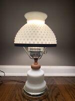 "Vintage Hobnail Milk Glass Hurricane Table Lamp 15.5"""