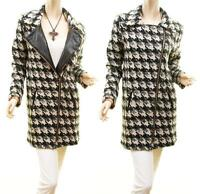 Vintage Houndstooth Wool Tweed Chunky Sweater Jacket Outerwear Trench Coat NEW