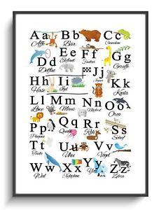 Bild A4 Poster ABC Tiere Alphabet Kinder Lernen Schule Deko Kinderzimmer Plakat