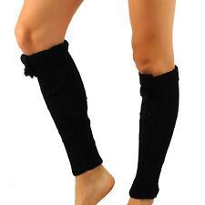 Winter Ski Ribbed Knit Real Fur Pom pom Matching Cuffed Leg Warmers Dancer Black