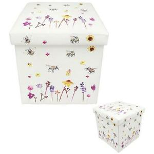 Faux Leather Busy Bees Bee Folding Storage Box Ottoman Seat Chair White
