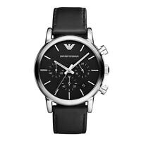 NEW EMPORIO ARMANI AR1733 SILVER LEATHER BLACK CHRONOGRAPH MEN'S WATCH - 1733