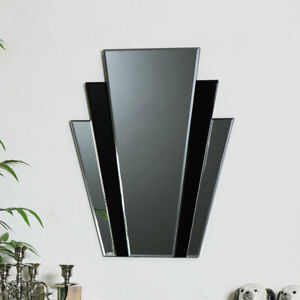 Black glass panelled retro art deco wall mirror vintage living room hall display