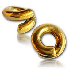 PAIR ORNATE 4G (5mm) TWISTS BRASS EAR WEIGHTS PLUGS TUNNELS STRETCH GAUGE HOOPS