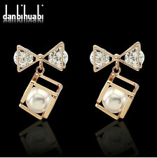 Fashion Women Pearl Glass Crystal Wedding Party Jewelry Stud Bow Earrings Gift