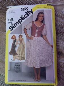 Vintage Simplicity 5392 Gunne Sax Pattern Size 9/10 Prairie Dress 1981
