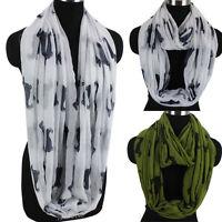 Fashion Women Dachshund Dog Animal Print Long/Infinity Scarf Soft Ladies Scarves