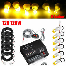 120W 6 LED Amber Light Bulbs Hide-a-way Emergency Warning Strobe System Kit 12V
