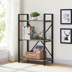 Small Bookshelf and Bookcase, 3 Tier Industrial Shelves for Bedroom, 3-Tier