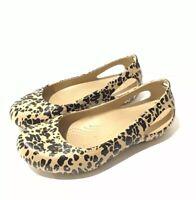 EUC Crocs Black Brown Leopard Print Ballet Flats Slingbacks Flats Womens Sz US 7