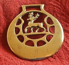 ANTIQUE CAST HORSE BRASS - A STAG WITH CRESCENT MOONS