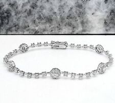 3.23Ct Natural Diamond 18K Solid White Gold Bracelet