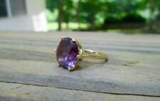 14 KT YELLOW GOLD 6.77 CTW PINK COLOR CHANGING ALEXANDRITE RING SIZE 6