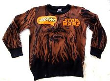 Star Wars Brown Orange Chewbacca Character Boys Knit Patch Crew Neck Sweater XS