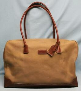 LARGE VERY RARE VINTAGE 80's COLE HAAN TRAVEL BAG - CANVAS WITH LEATHER TRIM